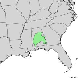 Aesculus parviflora range map 1