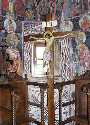 Jesus, King of the Jews - Eastern Orthodox crucifix, displays the lettering in Greek: ΙΝΒΙ (Trapeza of Holy Trinity Monastery, Meteora, Greece).