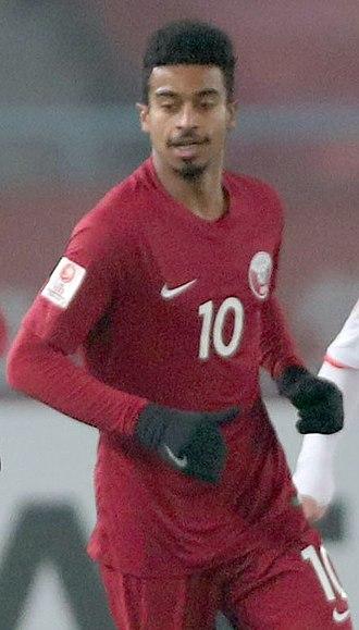 Akram Afif - Afif playing for Qatar in 2018