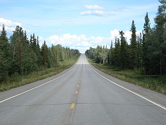 Alaska Highway - View of the highway at Mile 1,337, facing east