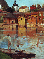 Boys Swimming in the Porvoonjoki River