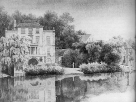 Pope's villa at Twickenham, showing the grotto; from a watercolour produced soon after his death Alexander Pope's house at Twickenham.png