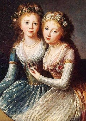 Grand Duchess Elena Pavlovna of Russia - Grand Duchesses Alexandra and Elena Pavlovna, by Elisabeth Vigée Le Brun, ca. 1795-1797.
