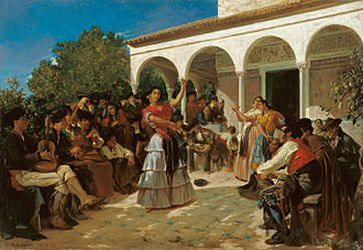 Romani people in Spain - A Gypsy dance in the gardens of the Alcázar of Seville.