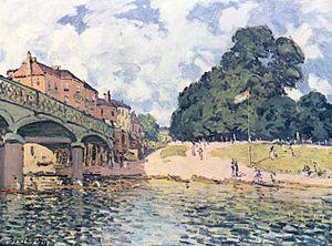 Hampton Court Bridge - Alfred Sisley's painting of the third iron bridge