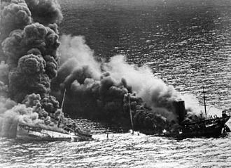 """German submarine U-71 (1940) - The tanker """"Dixie Arrow"""", torpedoed off Cape Hatteras by U-71 on 26 March 1942 during the height of the Second Happy Time."""