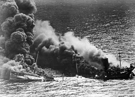 Allied tanker Dixie Arrow , torpedoed by U-71, in 1942 Allied tanker torpedoed.jpg