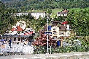 Alpnachstad railway station - Pilatus station seen from Brünig line platform