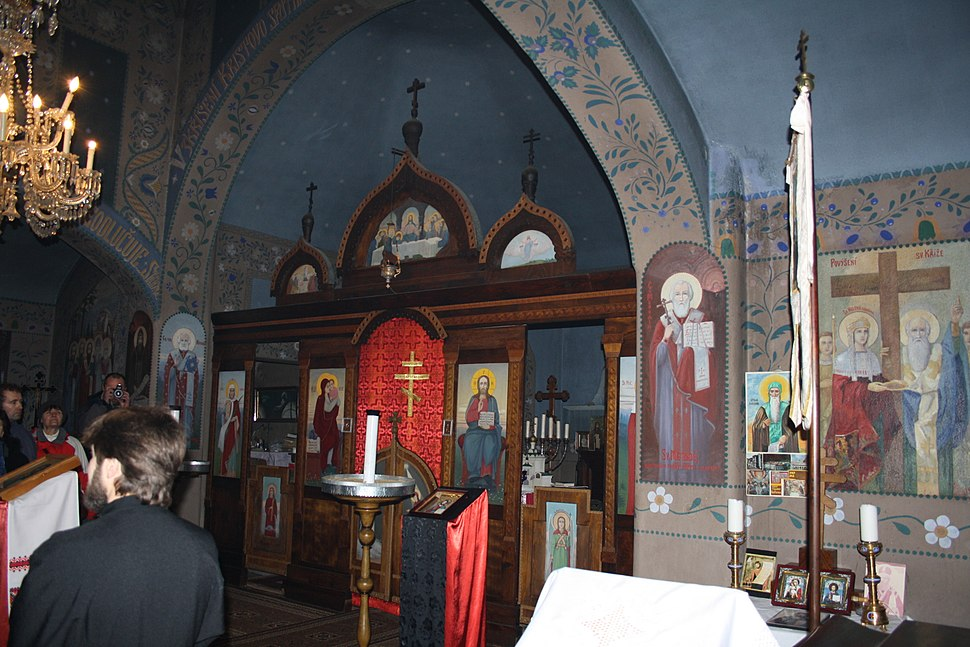 Altar of orthodox Church of saint Wenceslaw and Saint Ludmila in Třebíč, Třebíč District