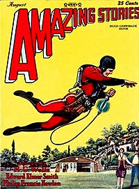 A jetpack wearing hero on the cover of Amazing Stories, August 1928. The cover illustrates The Skylark of Space.