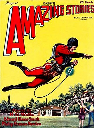 "Buck Rogers - ""Buck Rogers"" first appeared in this issue of Amazing Stories, August 1928. The cover illustrates The Skylark of Space, not Buck Rogers."