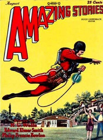 A jet pack wearing hero on the cover of Amazin...