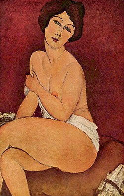 Nude seated woman painting