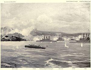 Bombardment of San Juan - Image: American ships bombarding San Juan, 5 12 1898