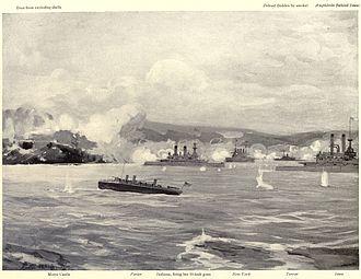 Bombardment of San Juan - American warships engaging the forts at San Juan.