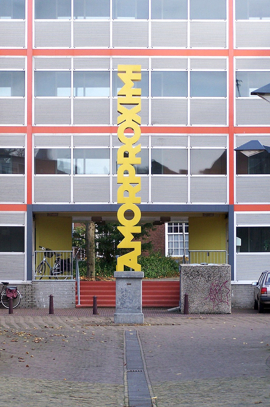"Sculpture ""Amorproximi"", made by Groenewoud/Buij (Gerard A. Groenewoud and Tilly A. Buij) in 1999 and placed at the Amelandshof together with the sculpture ""Amordei"" at the opposite of the street."