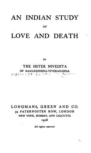 An Indian Study of Love and Death - Title page of 1908 edition of the book