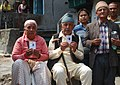 An elderly couple voters showing the mark of indelible ink after casting their votes, at a polling booth during the 4th Phase of Lok Sabha General Elections-2014, in Sikkim on April 12, 2014.jpg