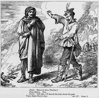 Ancient Pistol - Ancient Pistol meets Henry V disguised, while looking for Fluellen, illustration to Henry V by Henry Courtney Selous