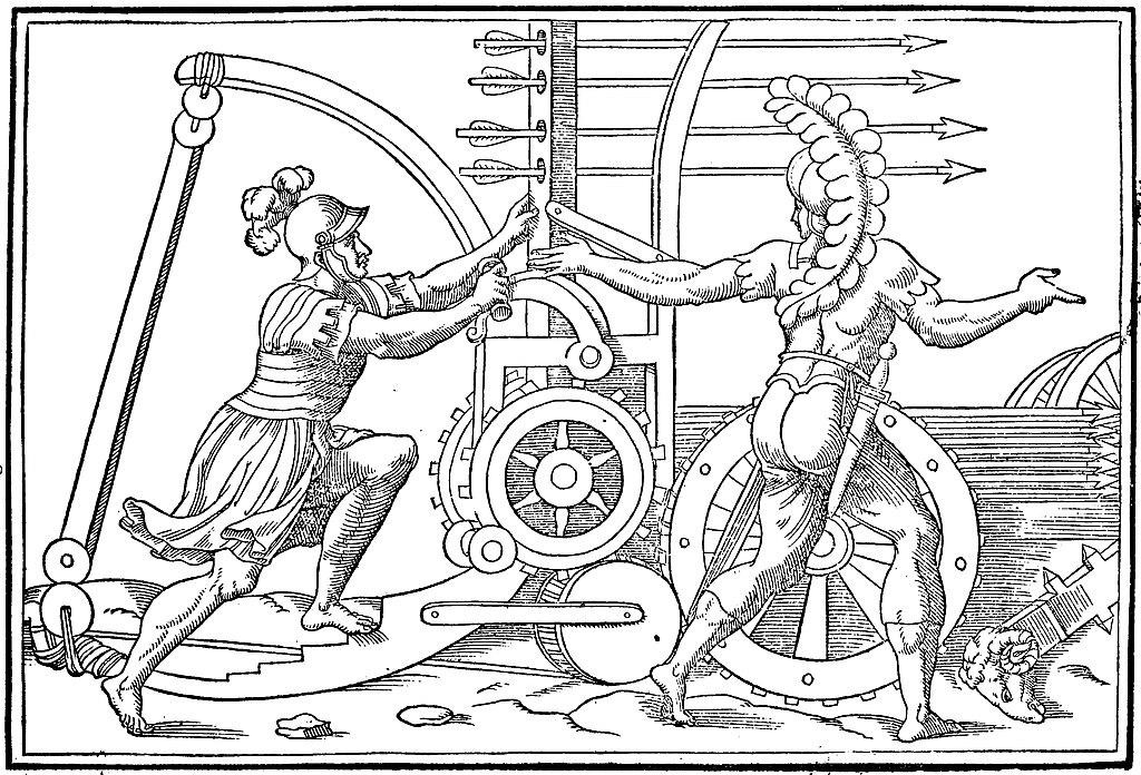 Ancient Roman catapult - Discours de la religion des anciens Romains (1581) (14763485952) (enhanced).jpg