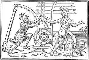 Catapult - Engraving illustrating a Roman catapult design, 1581