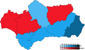 Andalusian regional election, 2012 - Image: Andalusia Province Map Parliament 2012