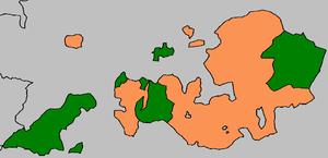 Anhalt-Bernburg - Anhalt territories in 1853, Anhalt-Bernburg in green