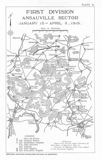 1st Medical Brigade (United States) - Map showing the location of medical units of the 1st Division, AEF, during Ansauville operations