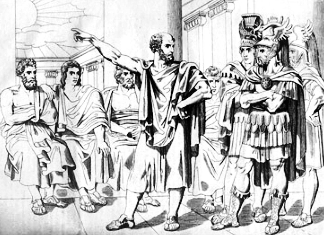 """پاسخ آریستیدس به سفیر مردونیه : """"تا زمانیکه خورشید به مسیر فعلی خود ادامه دهد، ما هرگز با خشایارشا موافق نیستیم."""""""