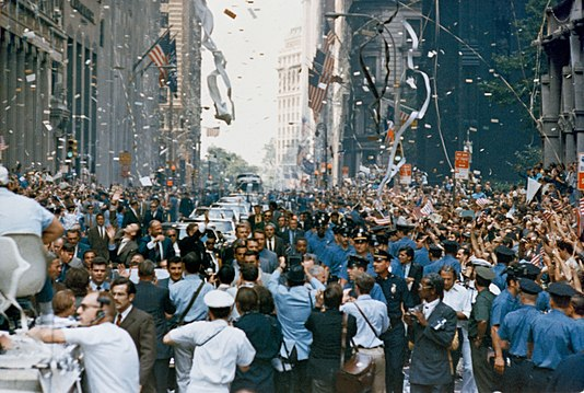 Canyon of Heroes during a ticker-tape parade for the Apollo 11 astronauts on August 13, 1969 Apollo 11 ticker tape parade 2.jpg