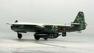 "Emergency Fighter Program - Model of an Arado Ar 234 V21 carrying an Arado E.381 Kleinstjäger – ""smallest fighter"""