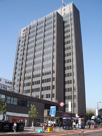 Archway tube station - The station lies at the base of Archway Tower, viewed from Junction Road.