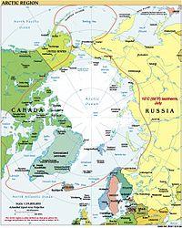 Η κόκκινη γραμμή είναι η ισόθερμη γραμμή των 10°C τον Ιούλιο, ένα από τα όρια της Αρκτικής