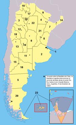 Provincias de la Argentina. Los territorios en anaranjado no están bajo la soberanía efectiva argentina: se encuentran ocupados por el Reino Unido (ejemplo: Islas del Atlántico Sur) o es un reclamo en suspenso (ejemplo: Antártida)
