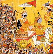 an 1820 painting depicting Arjuna, on the chariot, paying obeisance to Lord Krishna, the charioteer.