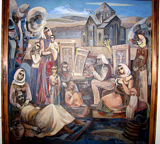 Armenian art - An Armenian painting at the art museum in Vanadzor, Armenia