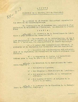 Direction de la surveillance du territoire - Decree about the organisation of Direction de la surveillance du territoire (DST). Archives nationales de France.