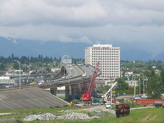 Arthur Laing Bridge - Arthur Laing Bridge, looking towards Vancouver.