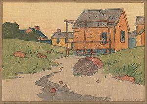 Arthur Wesley Dow - Arthur Wesley Dow, The Clam House, woodblock print, circa 1892