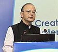 Arun Jaitley addressing the 4th Annual Pension Conference on the theme 'Creating an Inclusive and Sustainable Pension System in India Opportunities and Challenges'.jpg