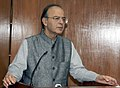 Arun Jaitley addressing the gathering while handing over the additional ex-gratia to the next of kin of battle casualties from the Army Battle Casualties Welfare Fund, which is contributed by concerned citizens, in New Delhi.jpg