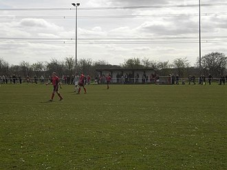 Askern F.C. - Image: Askern Villa fc Rose Lane covered stand and dugouts