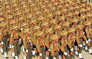 Assam Regiment - An Assam Regiment contingent in a Delhi Republic Day parade.