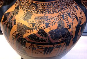Red-figure pottery - Black-figure scene on the Belly Amphora by the Andokides Painter (Munich 2301). Munich: Staatliche Antikensammlungen