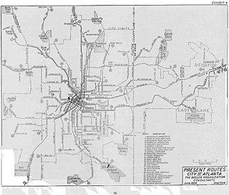 Streetcars in Atlanta - Map of Atlanta's streetcar system in 1924