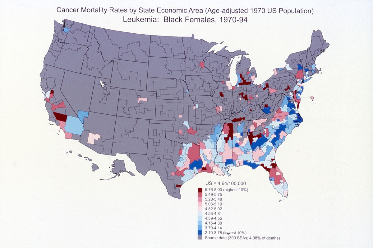List Of Cancer Mortality Rates In The United States Wikipedia - Us cancer rate map