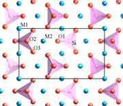 Figure 1: The atomic scale structure of olivine looking along the a axis. Oxygen is shown in red, silicon in pink, and magnesium/iron in blue. A projection of the unit cell is shown by the black rectangle