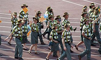 Australia at the 1992 Summer Paralympics - Australian Paralympic Team at opening ceremony of 1992 Barcelona Games