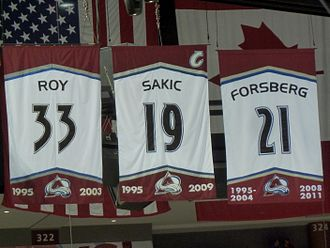 Colorado Avalanche - Retired numbers Patrick Roy 33, Joe Sakic 19, Peter Forsberg 21