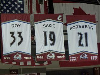 Colorado Avalanche - Retired numbers Patrick Roy 33, Joe Sakic 19, Peter Forsberg 21